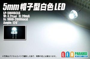 画像1: 5mm帽子型白色LED LP-5W4SCLG