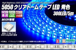 画像1: 5050テープLED 60LED/m クリアドーム 青色 5m