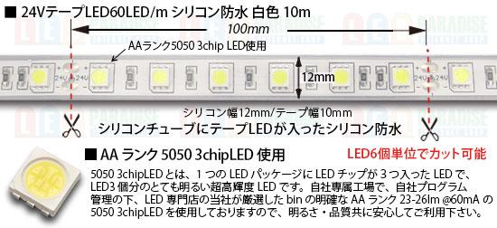 24VテープLED60LED/mシリコン防水 RGB 10m